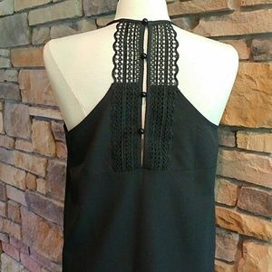 Paper Crane Black Button Back Camisole/Tank Top